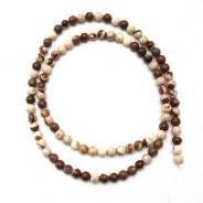 Brown Zebra Jasper 4mm Round Beads