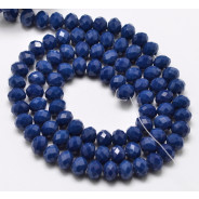 Marine Blue 6x4mm Faceted Abacus Glass Beads