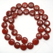 Carnelian 12mm Coin Beads