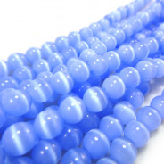 Cats Eye Light Blue 6mm Round Beads
