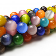 Cats Eye Multicolour 10mm Round Beads