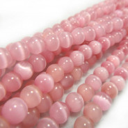 Cats Eye Pink 6mm Round Beads