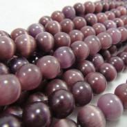 Cats Eye Deep Purple 8mm Round Beads