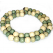 Natural White Wood Mixed Colour Beads - Celadon, Sage and Natural