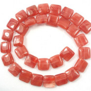 Cherry Quartz 10mm Square Beads