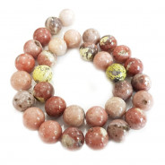Cherry Blossom Jasper 12mm Round Beads