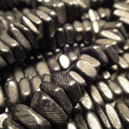 Black Coco Square Wood Beads
