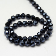 Hematite Electroplate 8mm Round Glass Beads