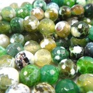 Fire Agate Green 8mm Faceted Round Beads