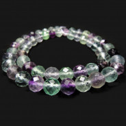 Fluorite 8mm 64 Faceted Round Beads