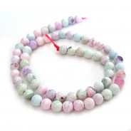 Fire Agate Pastel Colour 6mm Faceted Round Beads