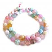 Fire Agate Pastel Colour 8mm Faceted Round Beads
