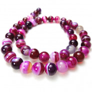 Fuchsia Agate 8mm Round Beads