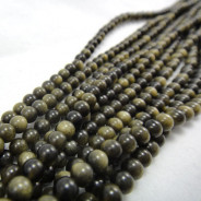 Golden Rainbow Obsidian 4mm Round Beads