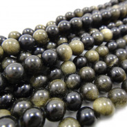 Golden Rainbow Obsidian 6mm Round Beads