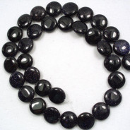 Blue Goldstone 12mm Coin Beads