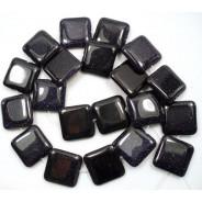 Blue Goldstone 12mm Square Beads