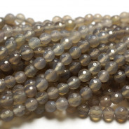 Grey Agate 6mm Faceted Round Beads