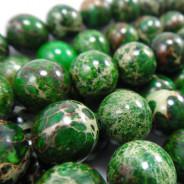 Green Impression Jasper 10mm Round Beads