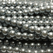 Grey Glass Pearls 8mm Round Beads
