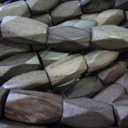 Greywood Diamond Cut 10x20mm Wood Beads