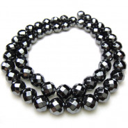 Hematite Faceted 8mm Round Beads