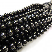 Jet 4mm Round Beads
