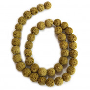 Dyed Lava Rock Tuscan Gold 10mm Round Beads