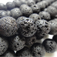 Lava Rock 12mm Round Beads