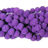 Dyed Lava Rock Purple 10mm Round Beads
