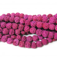 Dyed Lava Rock Fuchsia 6mm Round Beads