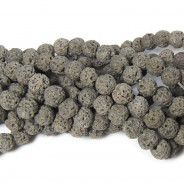Dyed Lava Rock Grey 6mm Round Beads
