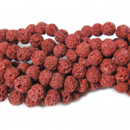 Dyed Lava Rock Rust Red 6mm Round Beads