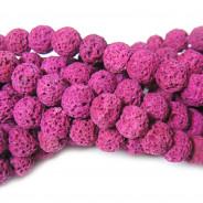 Dyed Lava Rock Fuchsia 8mm Round Beads