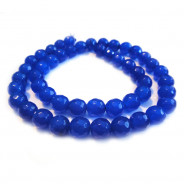 Malay Jade Blue Faceted 8mm Round Beads