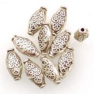 Tibetan Silver 15x7x4mm Beads (Pack 10)
