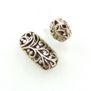 Tibetan Silver 21x11x6mm Beads (Pack 2)