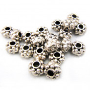 Tibetan Silver 6.5x4.5mm Studded Beads (Pack 20)