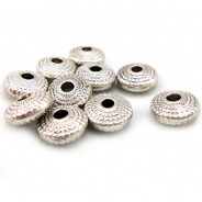 Tibetan Silver 8x4mm Patterned Saucer Beads (Pack 10)