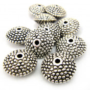 Tibetan Silver 11mm Studded Saucer Beads (10 Pack)
