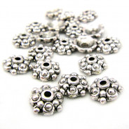 Tibetan Silver 8mm Studded Bead Caps (Pack 20)