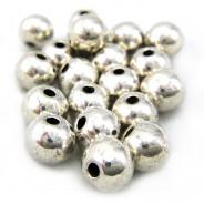 Tibetan Silver 5mm Plain Round Beads (Pack 20)