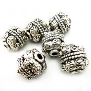 Tibetan Silver 10mm Studded Beads (Pack 6)