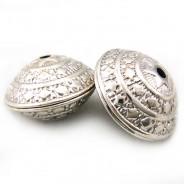 Tibetan Silver 23mm Saucer Beads (Pack 2)