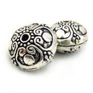 Tibetan Silver 16mm Saucer Beads (Pack 2)