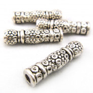 Tibetan Silver 22.5mm Tube Beads (Pack 4)