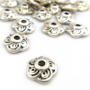 Tibetan Silver 9mm Flower Bead Caps (Pack 20)