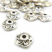 Tibetan Silver 9mm Flower Bead Caps (Pack 20)
