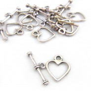 Tibetan Silver Heart Toggle Clasp (Pack 10)