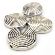 Tibetan Silver 18mm Swirl Disc Beads (Pack 4)